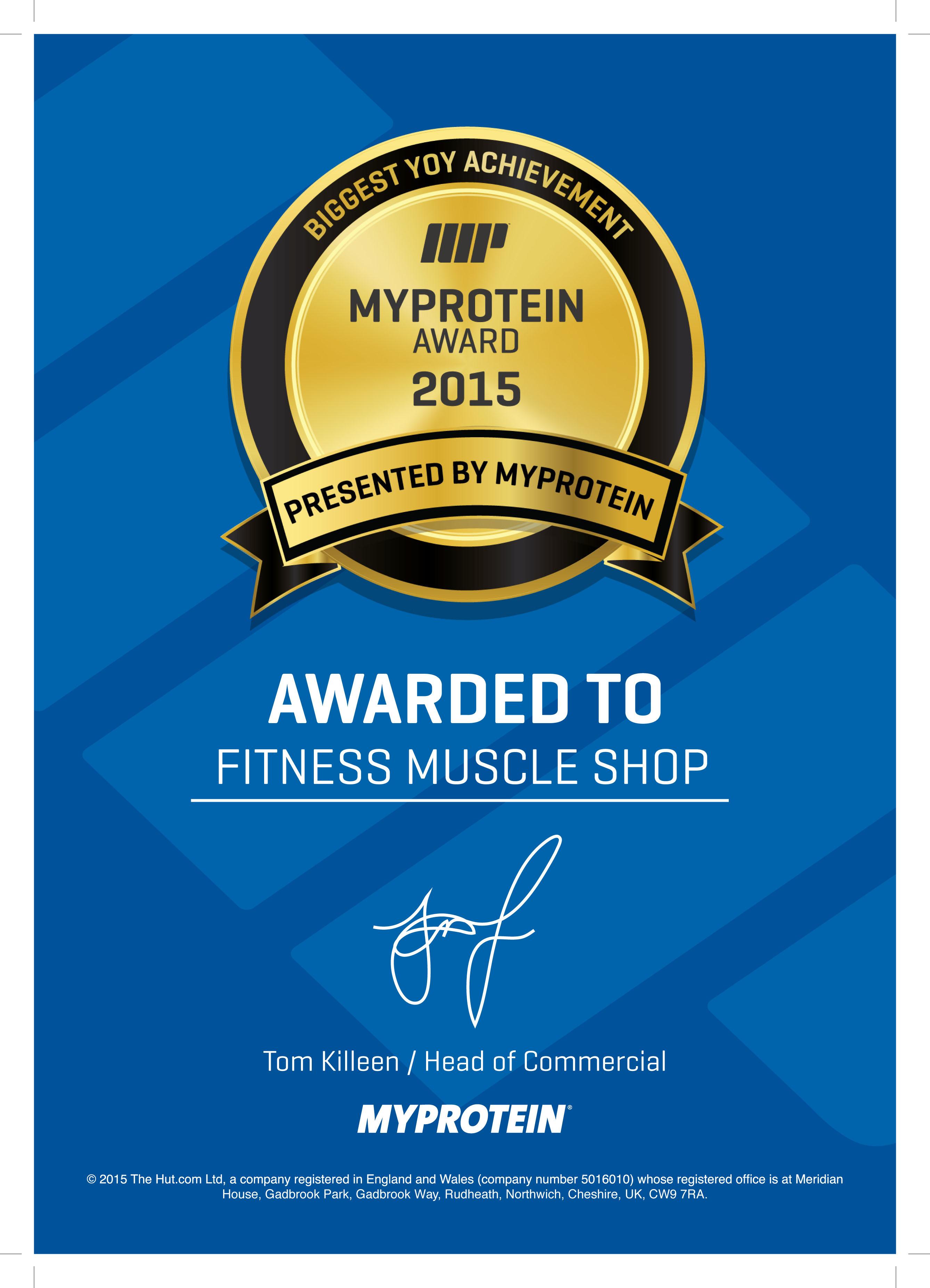 Nejlepší obchodník roku firmy MyProtein za rok 2015 | FitnessMuscle.eu